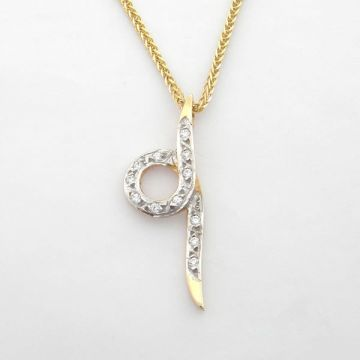 Pendant White Yellow Gold 14ct with Chain
