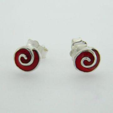 Silver Earrings with Enamel