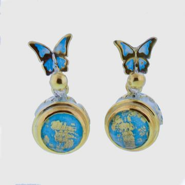 Earrings Silver with  Gold 22ct