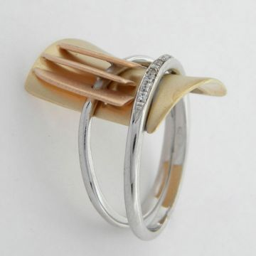 Ring White Yellow Gold 14ct