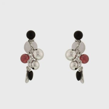Silver earrings 925 with ruby