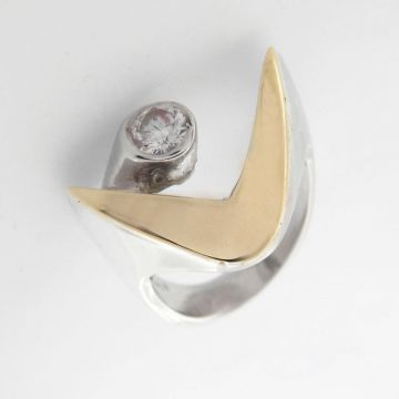 Silver Ring with Gold