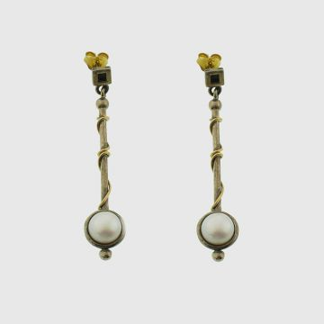Earrings Silver with Gold 14 carat