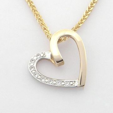 Pendant White and Yellow Gold 14ct with Chain