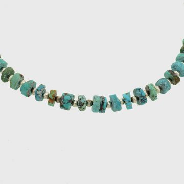Silver Necklace with raw turquoise