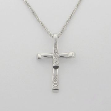 Cross White Gold  18ct with Diamonds and Chain 14ct