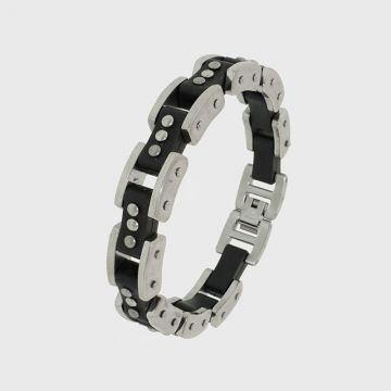 Steel bracelet with rubber