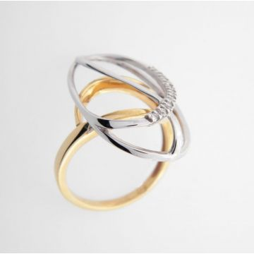 Ring White Yellow Gold 18ct with Diamonds