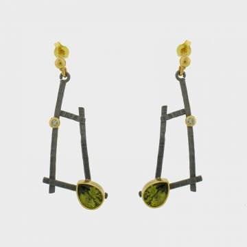 Silver Earrings gold plated with precious stones
