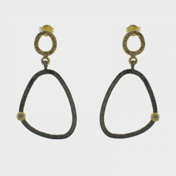 Silver Earrings gold plated with zircon stones