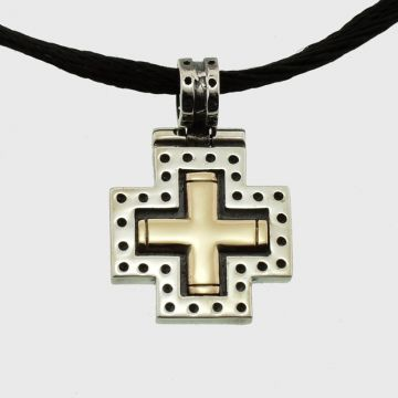 Silver Cross with gold 14 carats