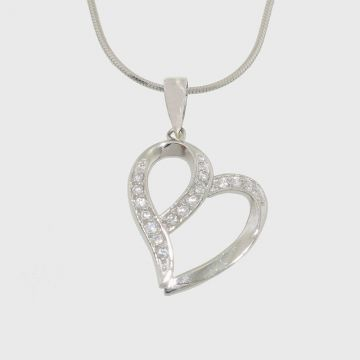 Silver pendant in heart shape with zircon stones