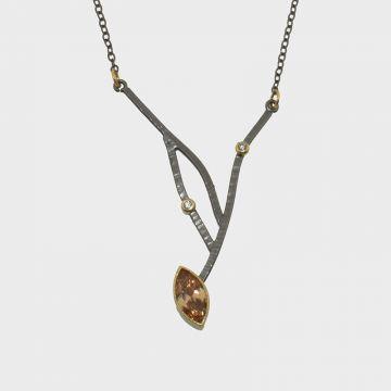 Brass Pendant with citrine and zircon