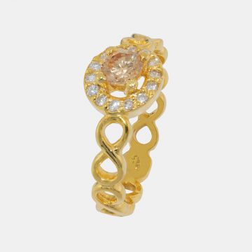 Silver Ring 925 yellow Gold plated with zircon