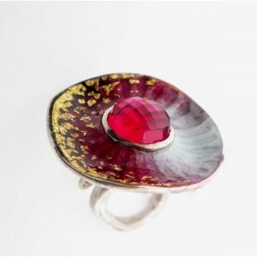 Silver Ring with Gold 22ct