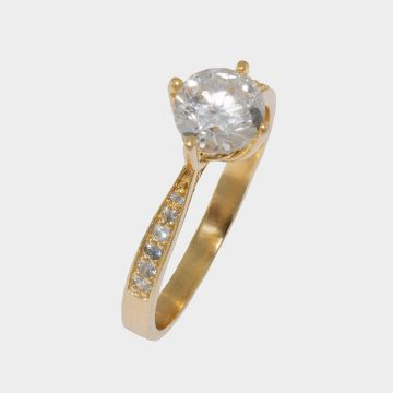 Yellow Gold Ring 14 carats with zircons