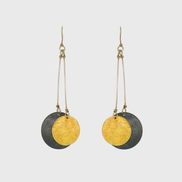 Silver earrings 925 with gold 22 carats