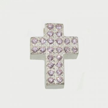 Silver Cross 925 with pink zircon stone