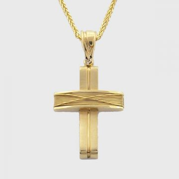 Cross Yellow Gold 18 ct with Chain 14ct