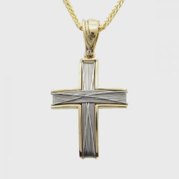 Cross White Yellow Gold 18 with Chain 14ct