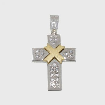 Cross White Yellow Gold 14 carats with two face