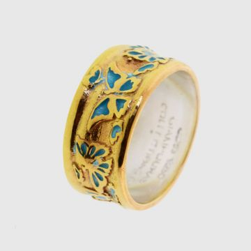 Ring Silver Gold plated with enamel