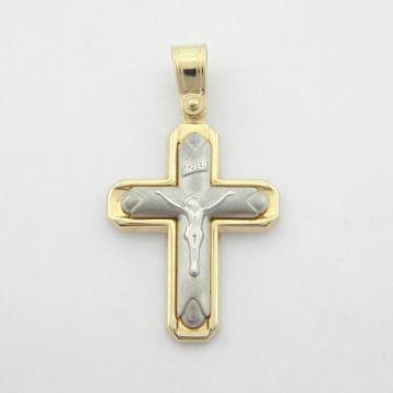 Σταυρός Λευκός  Κίτρινος Χρυσός 14κ