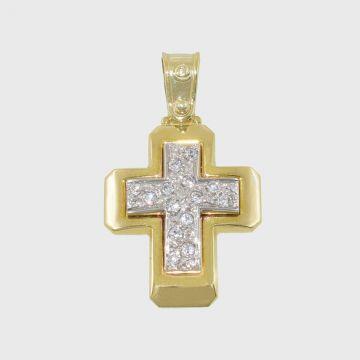 Σταυρός Λευκός Κίτρινος Χρυσός 14 καρατίων με πέτρες ζιρκονίου