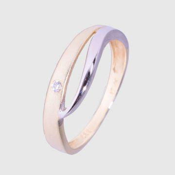 Δαχτυλίδι Λευκό Κίτρινο Χρυσό 14 κτ