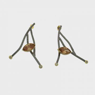 Ασημένια σκουλαρίκια επιχρυσωμένα με πολύτιμες πέτρες