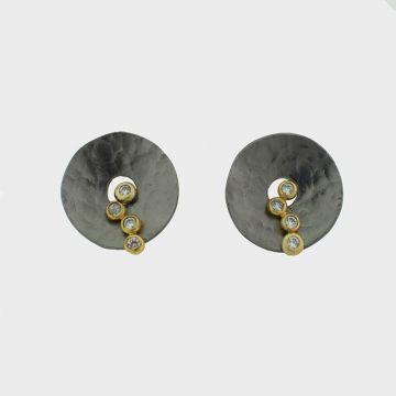 Ασημένια σκουλαρίκια επιχρυσωμένα με πέτρες ζιργκόν