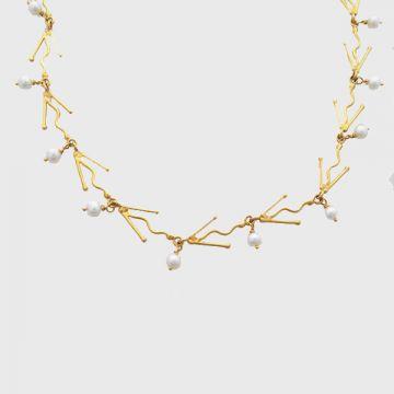 Κολιέ κίτρινος χρυσός 18κ με μαργαριτάρια