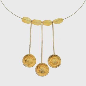 Ασημένιο κολιέ με χρυσό 22 καρατίων