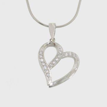 Ασημένιο κρεμαστό σε σχήμα καρδιάς με πέτρες ζιργκόν