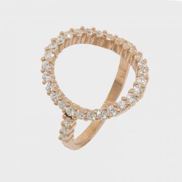 Ασημένιο δαχτυλίδι 925 Ροζ επιχρυσωμένο με ζιργκόν