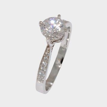 Λευκόχρυσο δαχτυλίδι 14 καρατίων με ζιργκόν