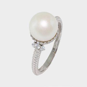 Λευκόχρυσο δαχτυλίδι 14 καρατίων με μαργαριτάρι