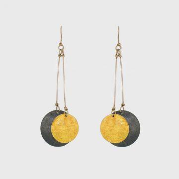 Ασημένια σκουλαρίκια 925 με χρυσό 22 καρατίων