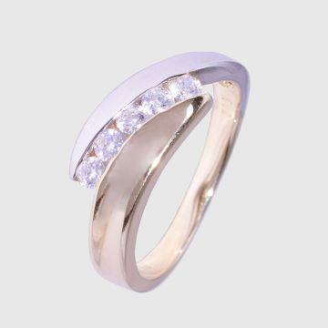 Δαχτυλίδι Λευκό Κίτρινο Χρυσό 14κ